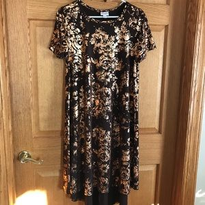 Lularoe midi dress brown & gold size medium